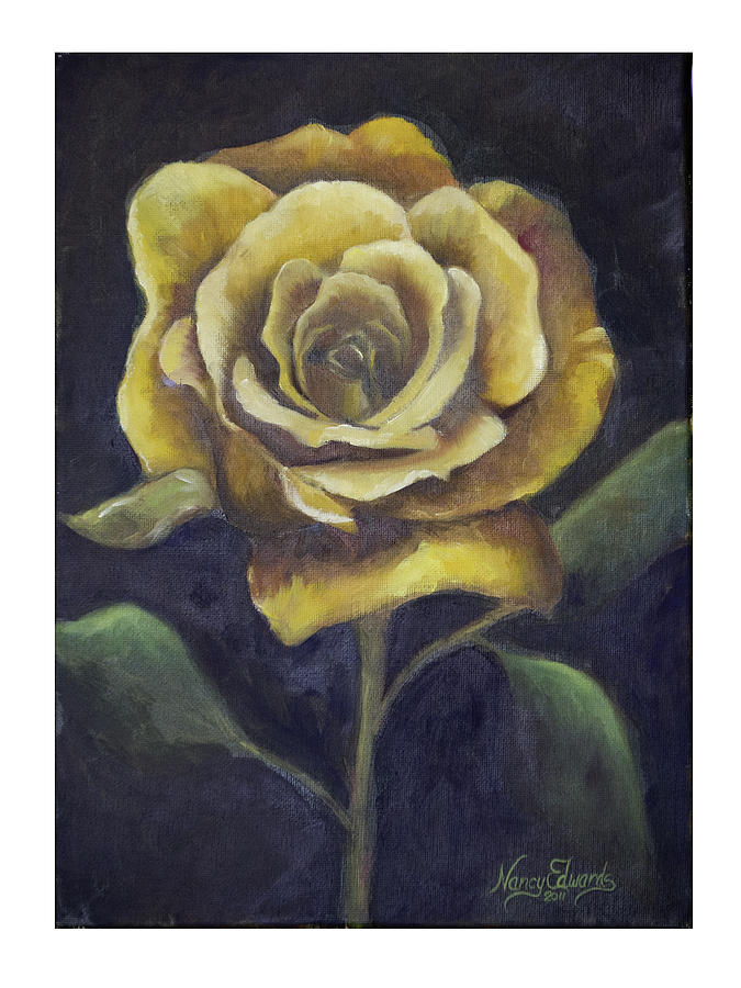 Flower Painting - Royal Gold Bloom by Nancy Edwards