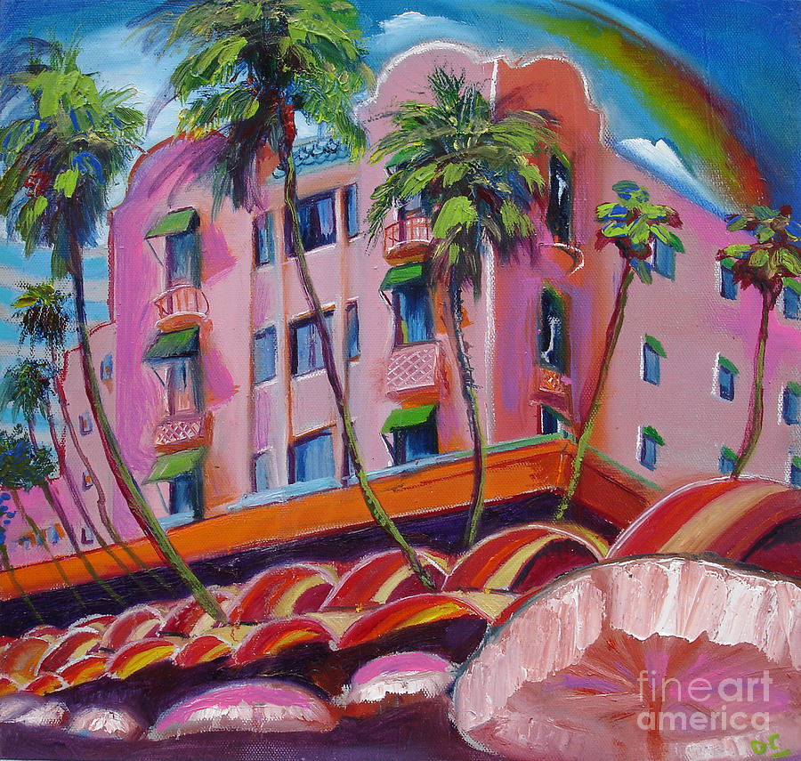 Pink Painting - Royal Hawaiian Hotel by Donna Chaasadah