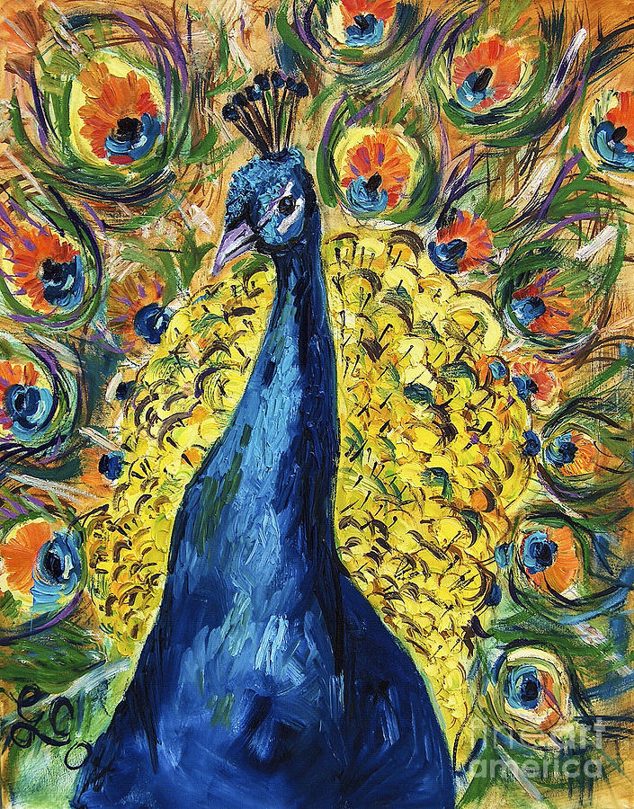 Royal Peacock Painting by Ginette Callaway