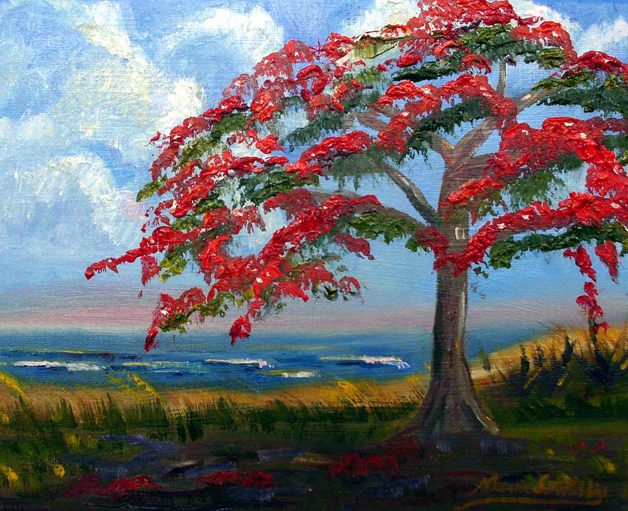 Royal Poinciana Painting - Royal Poinciana Morning by Maria Soto Robbins