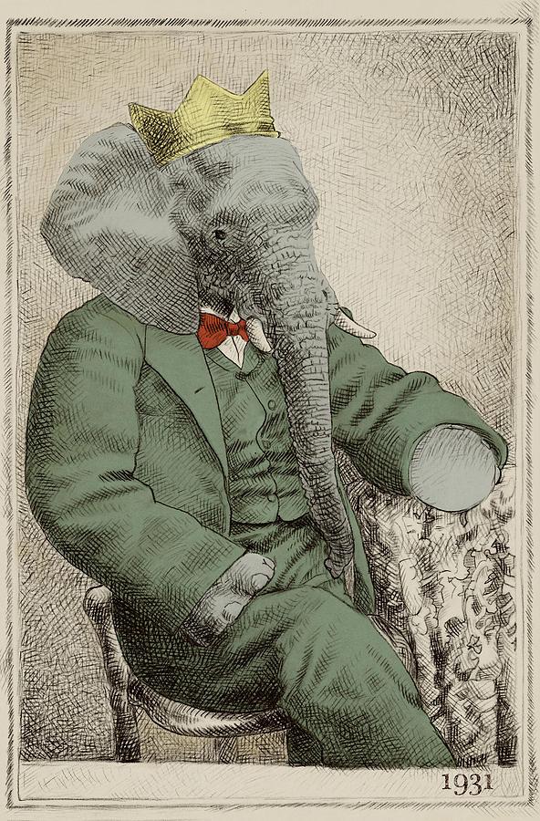 Elephant Drawing - Royal Portrait by Eric Fan