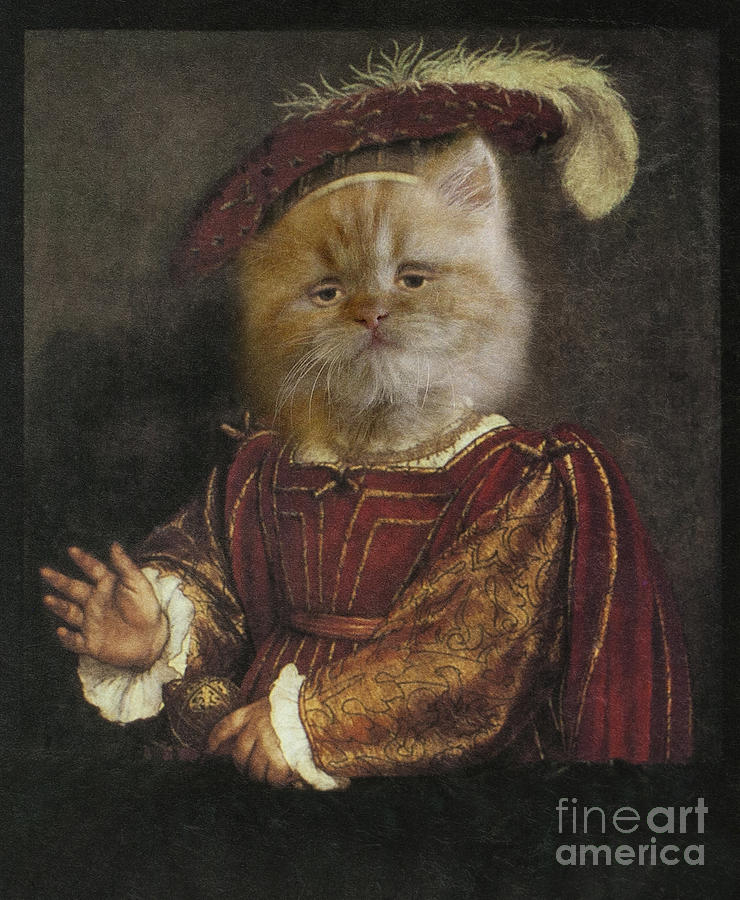 Royal Digital Art - Royal Prince Kitty Human Body Animal Head Portrait by Jolanta Meskauskiene