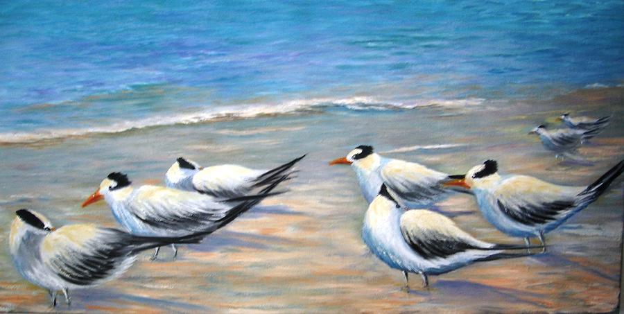 Birds Painting - Royal Terns by Teresita Hightower