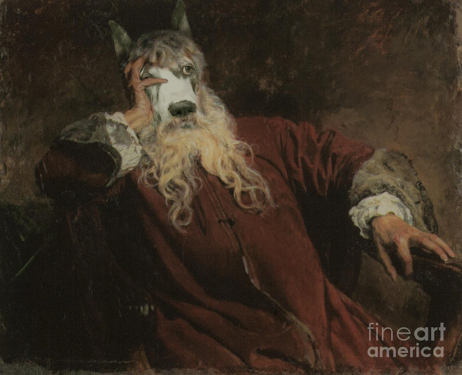 Royal Digital Art - Royal The Lord Dog Human Body Animal Head Portrait by Jolanta Meskauskiene