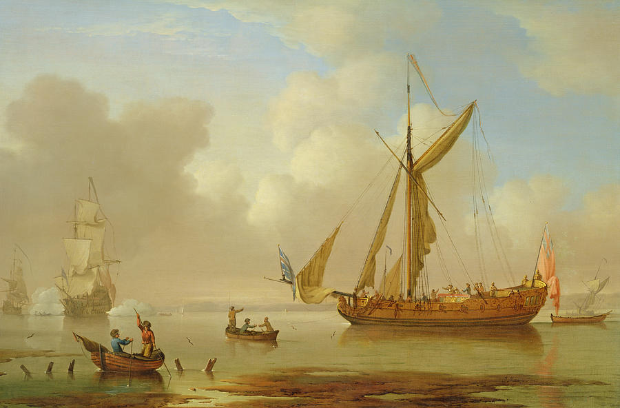 Boat Painting - Royal Yacht Becalmed At Anchor by  Peter Monamy