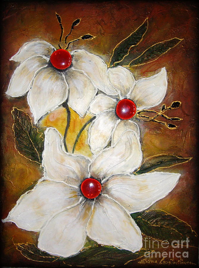 Floral Painting - Rubies by Elena  Constantinescu