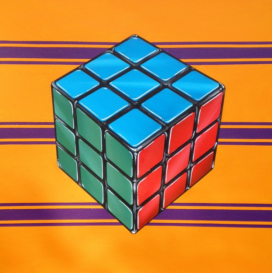 Rubiks Cube Painting - Rubiks by Anthony Mezza