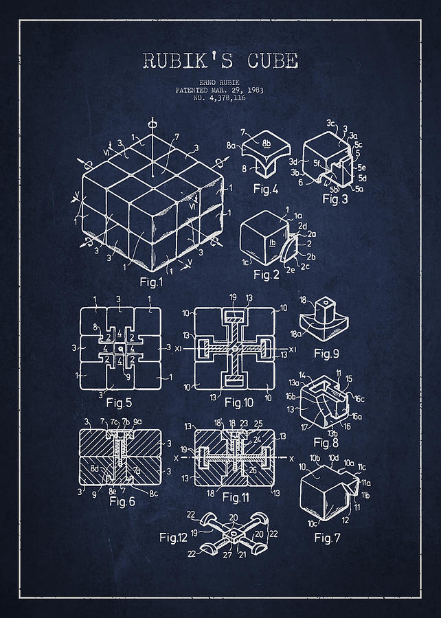 Rubiks Cube Drawing - Rubiks Cube Patent by Aged Pixel