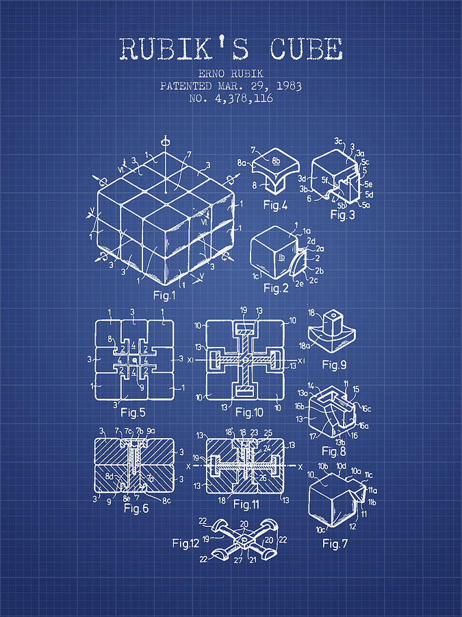 Rubiks cube patent from 1983 blueprint digital art by aged pixel rubiks cube digital art rubiks cube patent from 1983 blueprint by aged pixel malvernweather Image collections