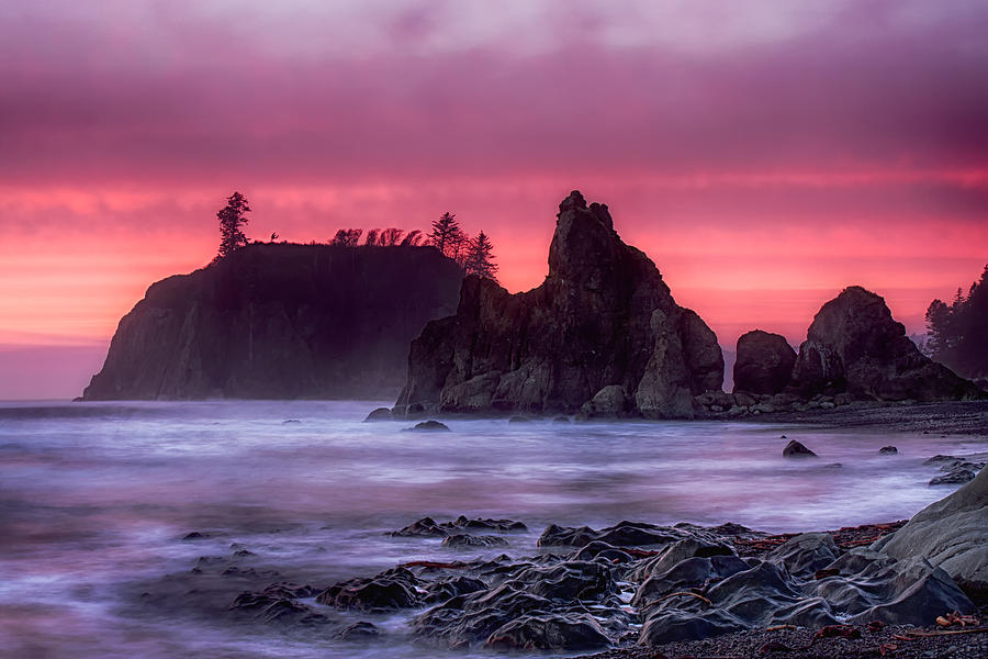 Washington Photograph - Ruby Beach Last Light by Ray Still