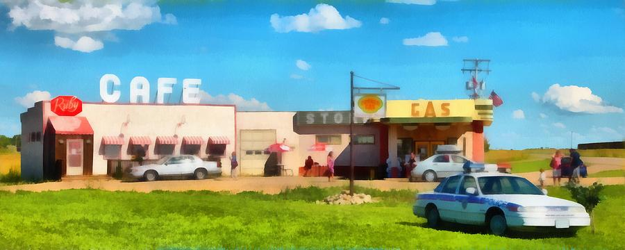 Gas Photograph - Ruby Cafe Corner Gas by Mick Flynn
