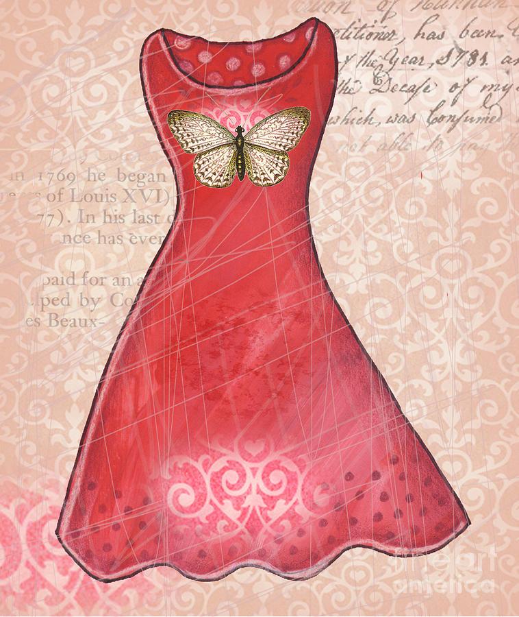 Mixed Media Digital Art - Ruby dress by Elaine Jackson