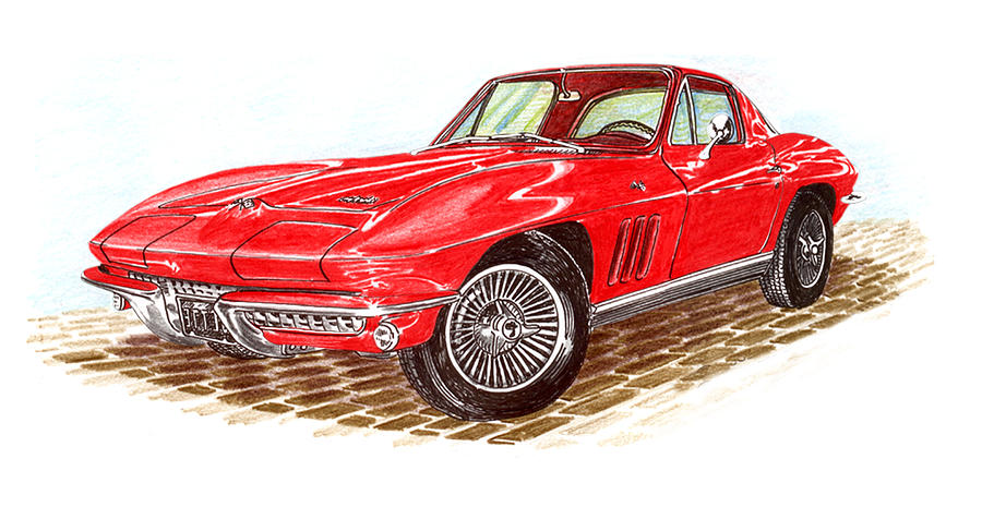 Ruby Red 1966 Corvette Stingray Fastback Drawing By Jack