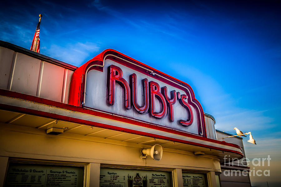America Photograph - Rubys Diner Sign On Balboa Pier In Newport Beach by Paul Velgos