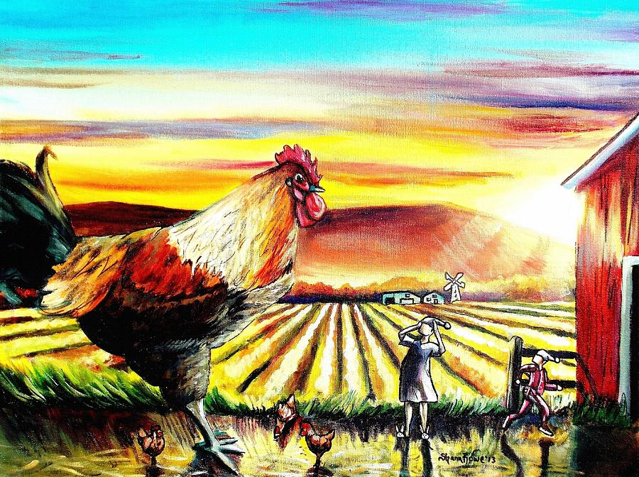 Rooster Painting - Rude Awakening by Shana Rowe Jackson