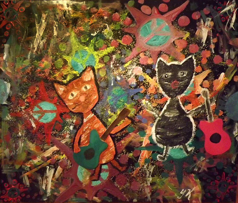 Cats Painting - Rudy And Sketch Electric Cats by Yvonne  Kroupa