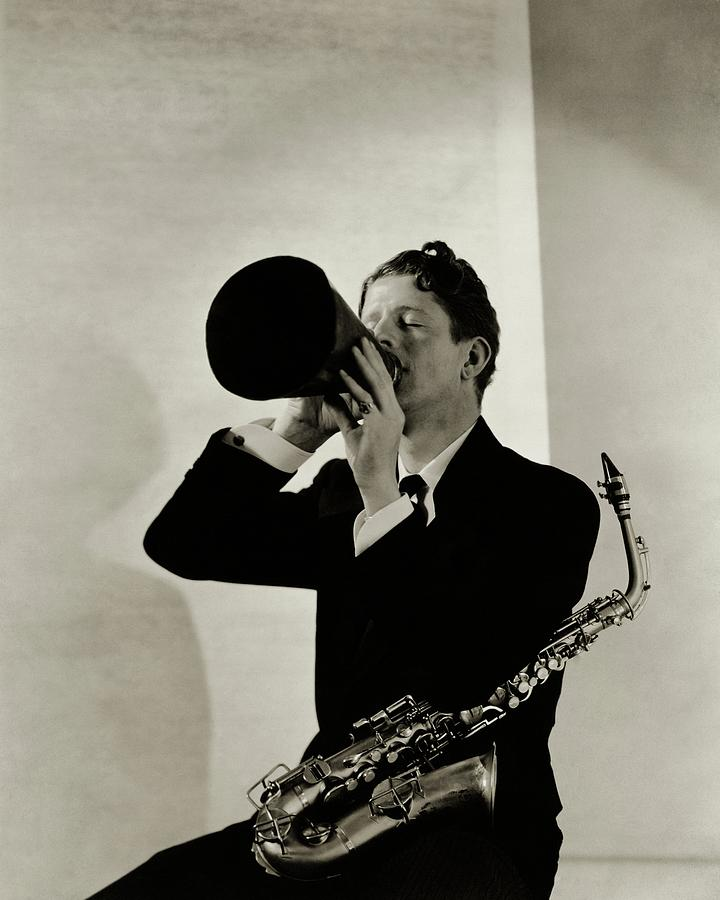 Rudy Vallee With A Saxophone Photograph by George Hoyningen-Huene