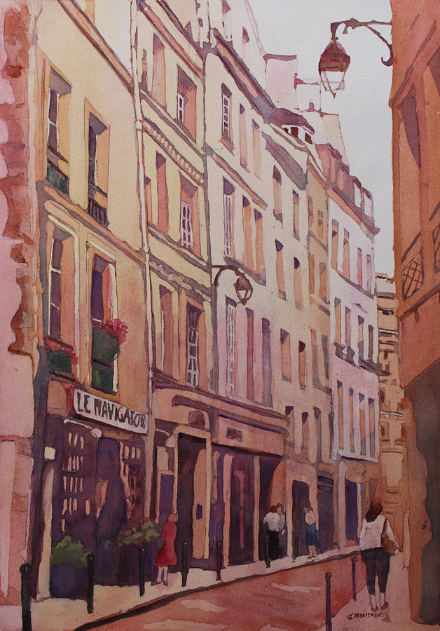 Street Painting - Rue Galande by Jenny Armitage