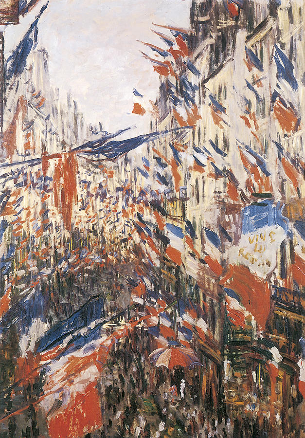 Rue Montorgeuil Decked With Flags Painting - Rue Montorgeuil Decked With Flags by Claude Monet