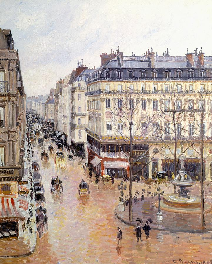 Painting Painting - Rue Saint Honore Afternoon Rain Effect by Camille Pissarro