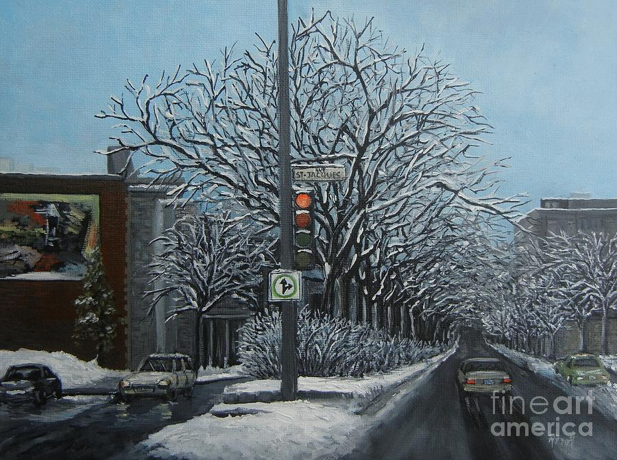 Montreal Paintings Painting - Rue St Jacques by Reb Frost