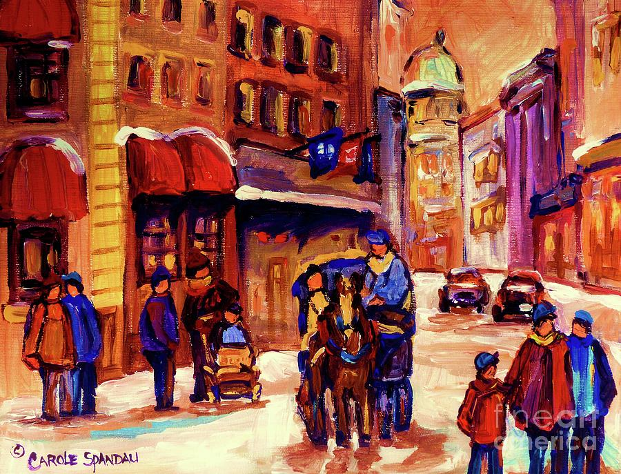 Montreal Painting - Rue St. Paul Old Montreal Streetscene In Winter by Carole Spandau