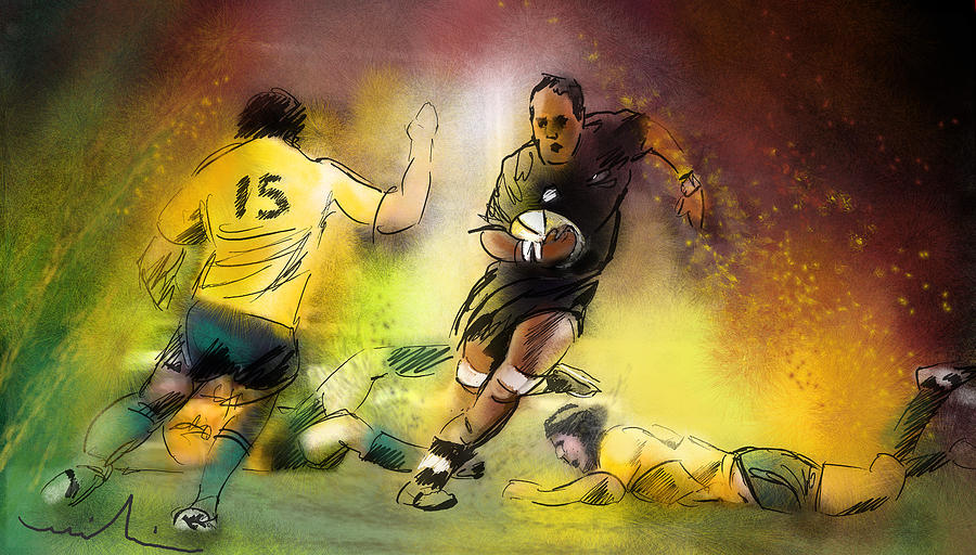 Sports Painting - Rugby 01 by Miki De Goodaboom