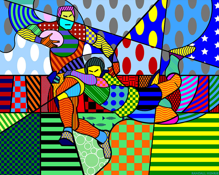 Colorful Digital Art - Rugby by Randall Henrie