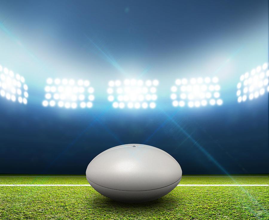 Rugby Stadium And Ball Digital Art