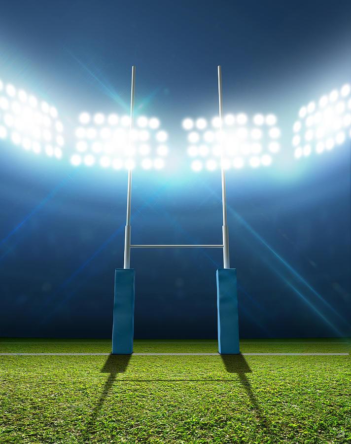Rugby Stadium And Posts Digital Art