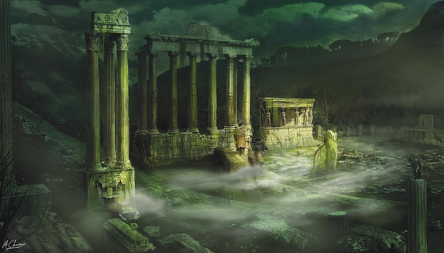 Landscape Digital Art - Ruined Temple by Anthony Christou