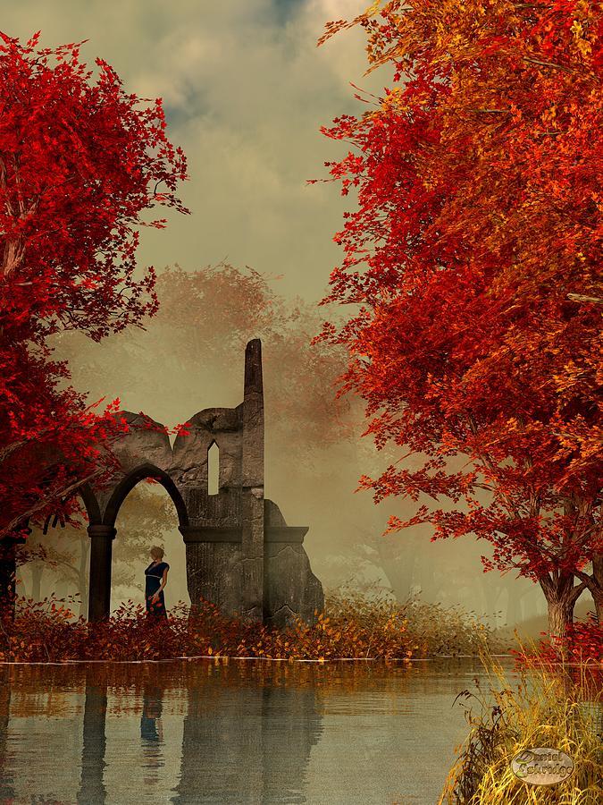 Autumn Digital Art - Ruins In Autumn Fog by Daniel Eskridge