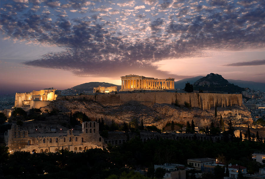 Color Image Photograph - Ruins Of A Temple, Athens, Attica by Panoramic Images