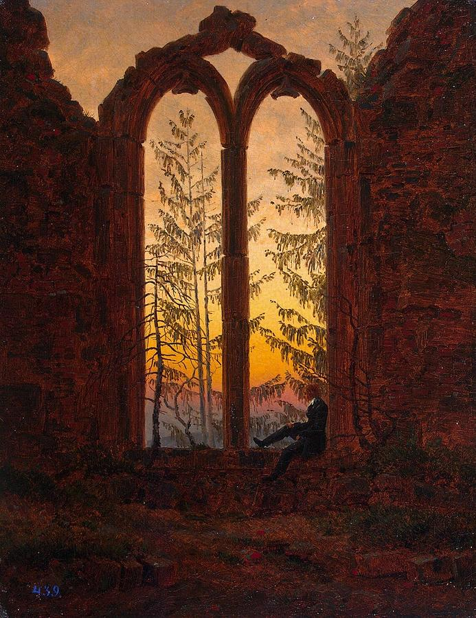 Caspar Painting - Ruins Of The Oybin Monastery The Dreamer by Philip Ralley