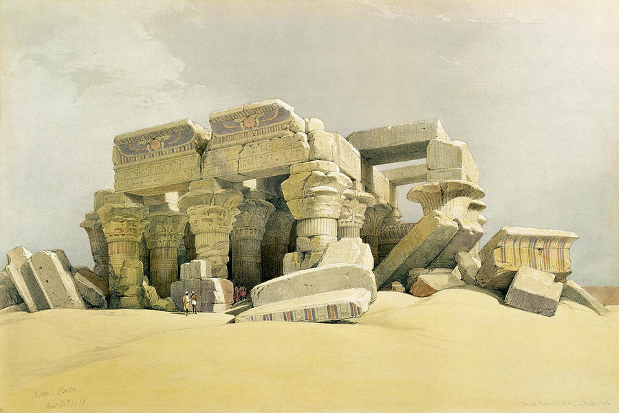 Columns Painting - Ruins Of The Temple Of Kom Ombo by David Roberts