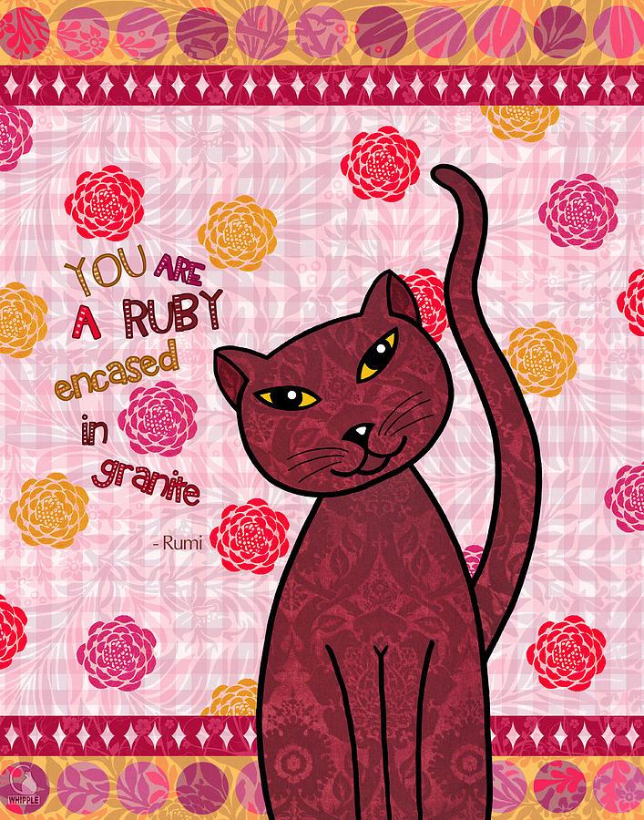 Cats Digital Art - Rumi Cat Ruby by Cat Whipple