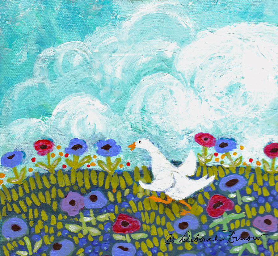 Goose Painting - Run Duck Run by Deborah Burow