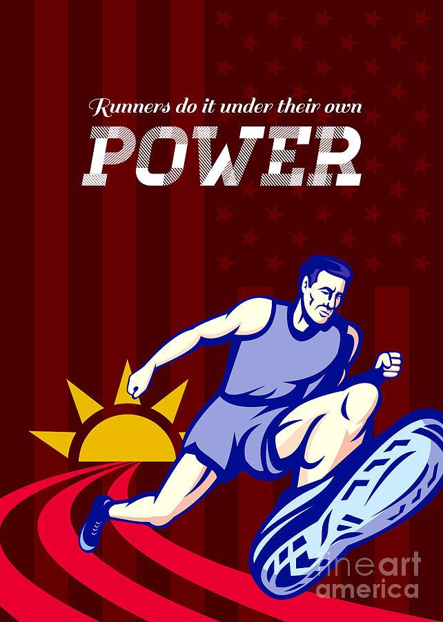 Poster Digital Art - Runner Running Power Poster by Aloysius Patrimonio