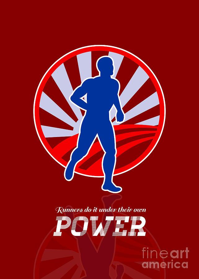 Poster Digital Art - Runner Running Power Retro Poster by Aloysius Patrimonio