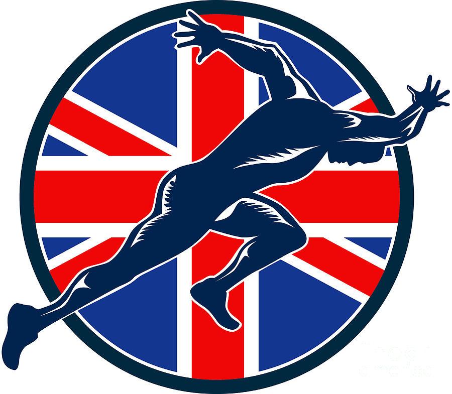 Athlete Digital Art - Runner Sprinter Start British Flag Circle by Aloysius Patrimonio