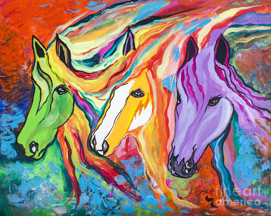 Runner Painting - Running Against The Wind by Janice Rae Pariza