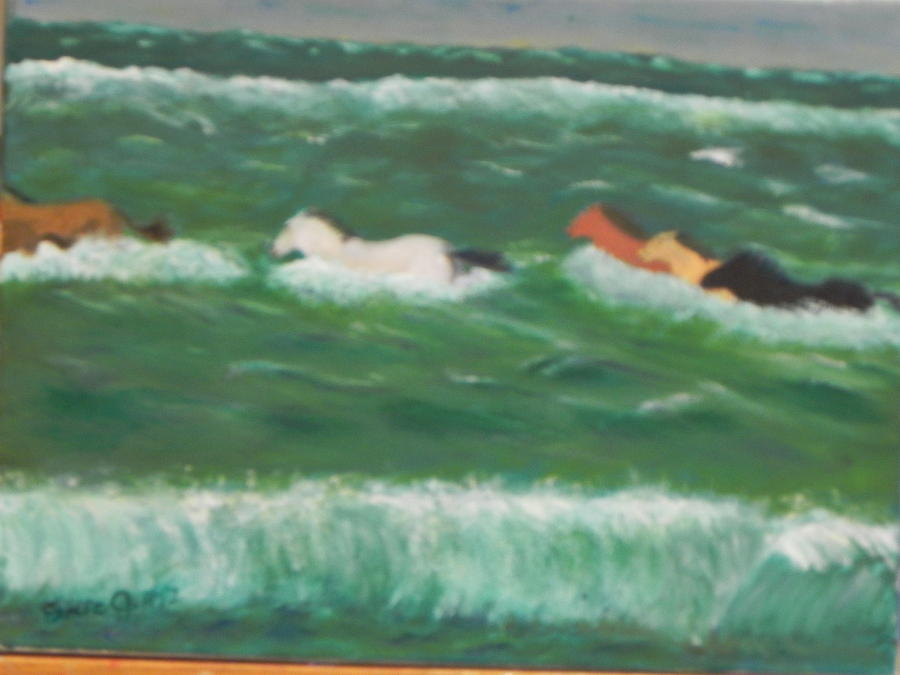 Ponies Painting - Running Before The Tide by Ernie Goldberg