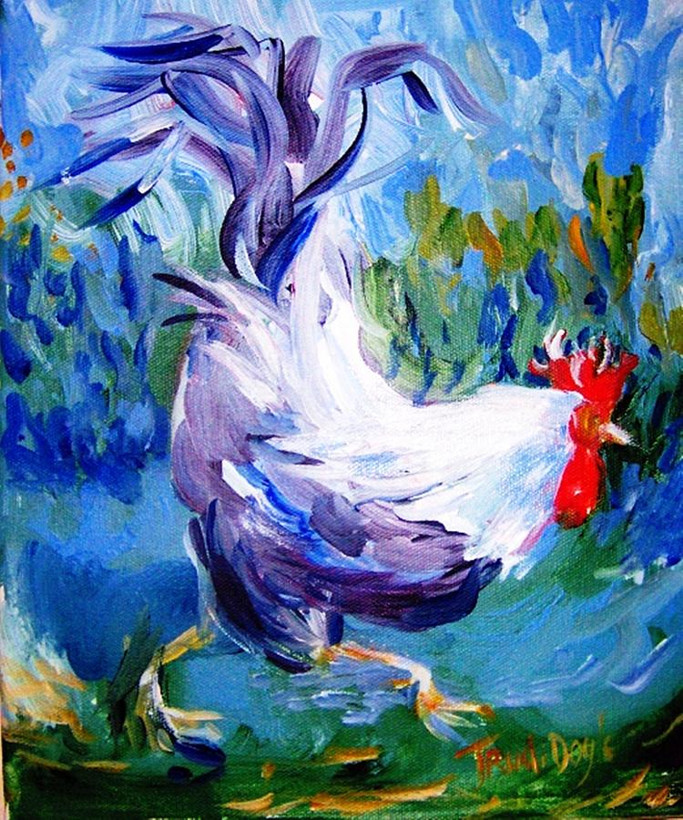 Rooster Painting - Running Cockerel by Trudi Doyle