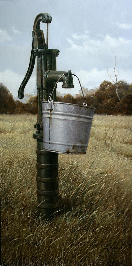 Old Pump Painting - Running Dry by William Albanese Sr