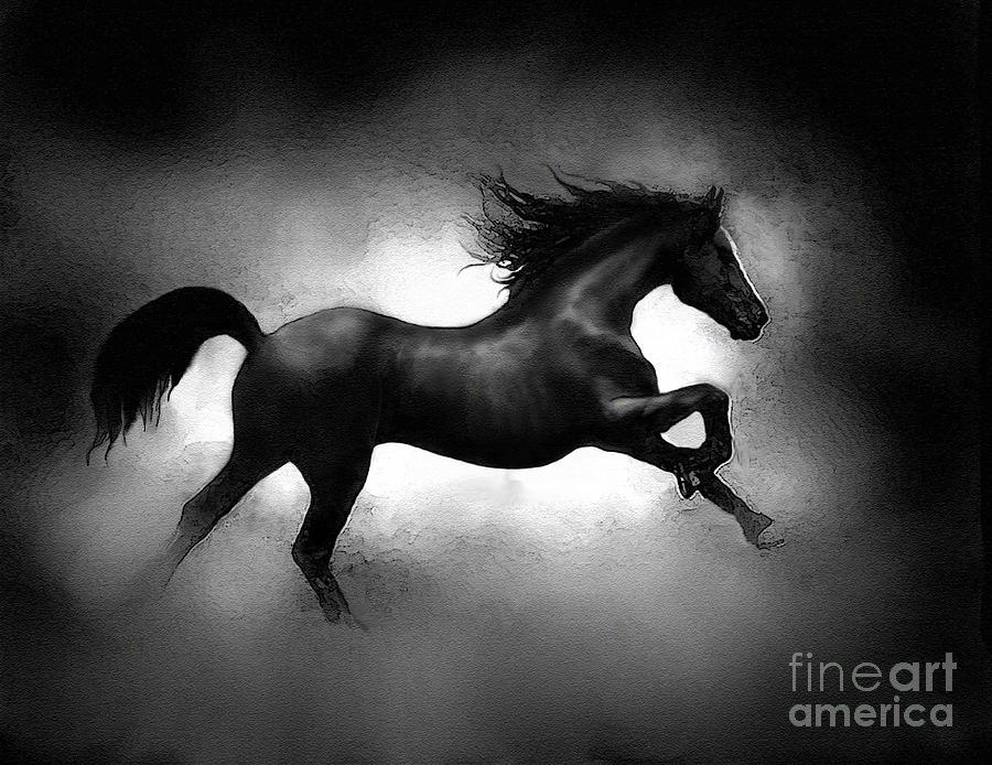 Horse Painting - Running Horse by Robert Foster