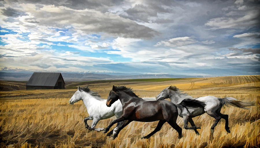 running horses painting photograph by steve mckinzie