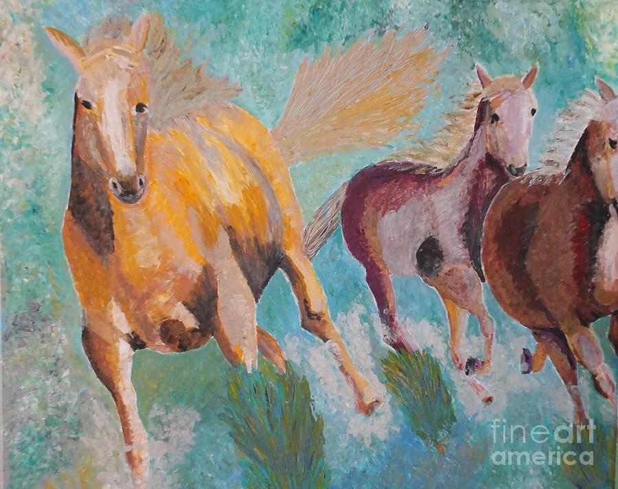 Horse Painting - Running Horses  by Vicky Tarcau
