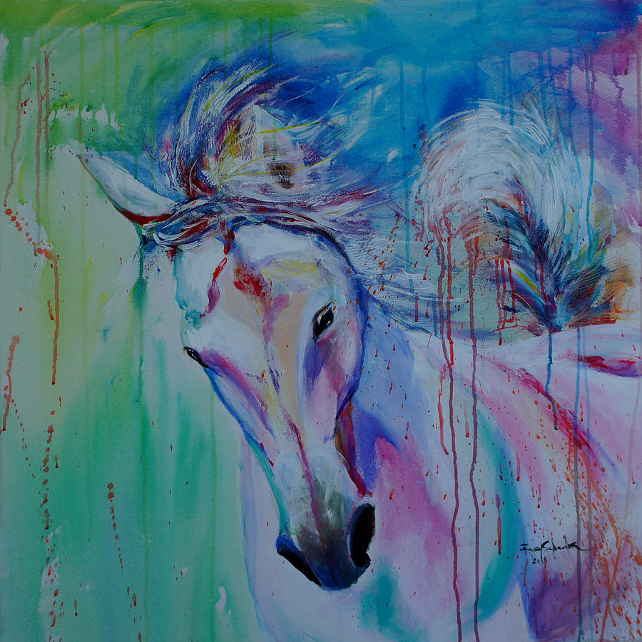 Cavalos Painting - Running In Shades Of Pink And Blue by Isabel Salvador