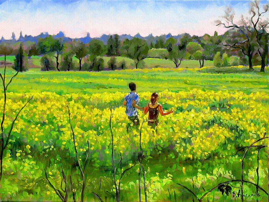 Outdoors Painting - Running In The Mustard Field by Dominique Amendola