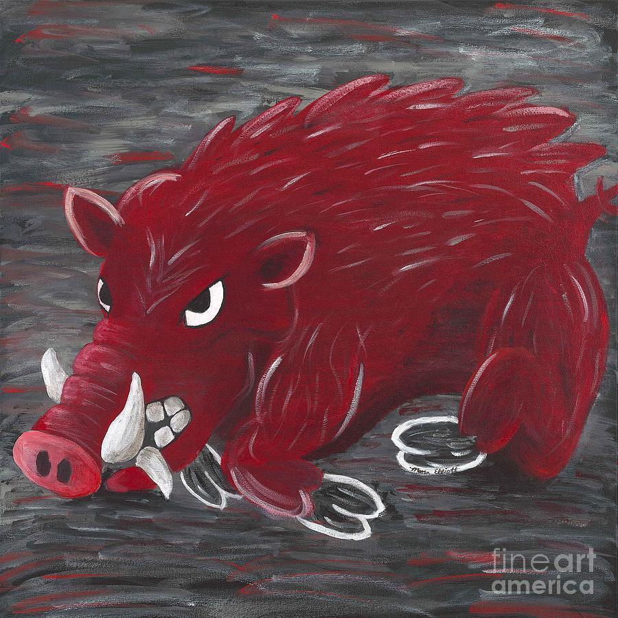 Razorback Painting - Running Razorback by Mona Elliott
